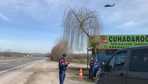 Sakaryada helikopter destekli trafik denetimi