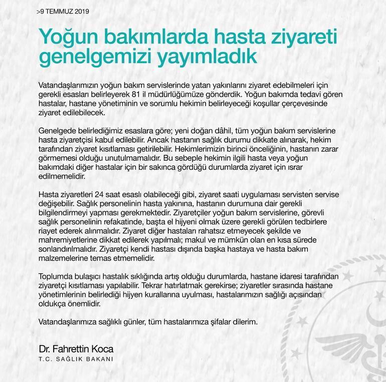 Sağlık Bakanlığı 81 ile gönderdi Hasta ziyareti ile ilgili önemli açıklama